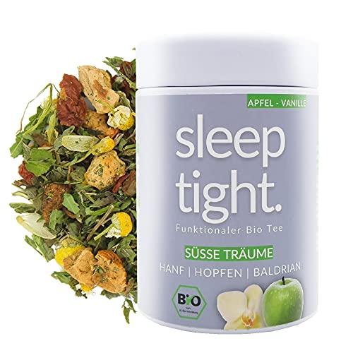 DrinkTea Sleep Tight Gute Nacht Tee | natürlich süß | loser funktionaler Bio Kräuter-Tee | Apfel-Vanille | Hanf, Hopfen, Baldrian | beruhigender Schlaf-Tee | sleep well tea (60g)