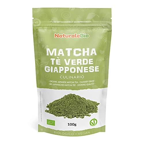 Matcha Tee Pulver Bio - Cooking-Qualität - 100 GR. Original Green Tea aus Japan. Japanischer Matcha Ideal zum Smoothies – Shakes - Latte. Tee hergestellt in Japan Uji, Kyoto. NaturaleBio