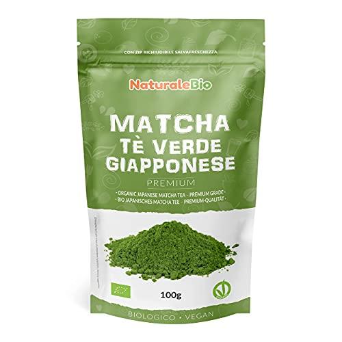 Matcha Tee Pulver Bio - Premium-Qualität - 100g. Original Green Tea aus Japan. Japanischer Matcha ideal zum Trinken. Grüntee-Pulver für Latte, Smoothies, Matcha-Getränk. Hergestellt in Uji, Kyoto.