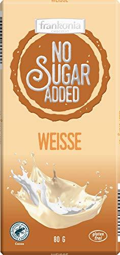frankonia CHOCOLAT NO SUGAR ADDED Weisse Schokolade glutenfrei, 80 g