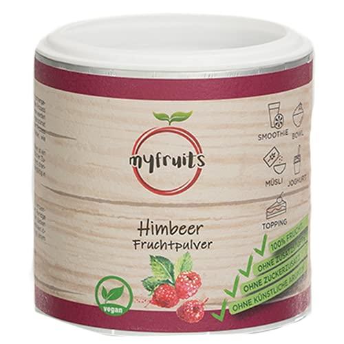 myfruits® Himbeerpulver Gefriergetrocknet Bio - Ohne Zusätze Fruchtpulver Himbeere, zu 100% aus Himbeer Pulver, Gefriergetrocknete Früchte Pulver, für Smoothie, Shakes & Joghurt (70g)