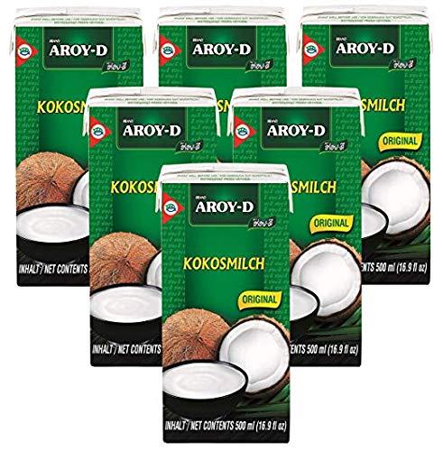6er Pack AROY-D Kokosnussmilch mit E435 [6x 500ml] Cocosmilch ~ Coconut Milk