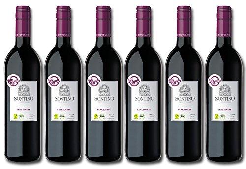 Sontino BioVegan Sangiovese Halbtrocken – Fruchtiger Rotwein aus Italien – 6 x 0,75 l
